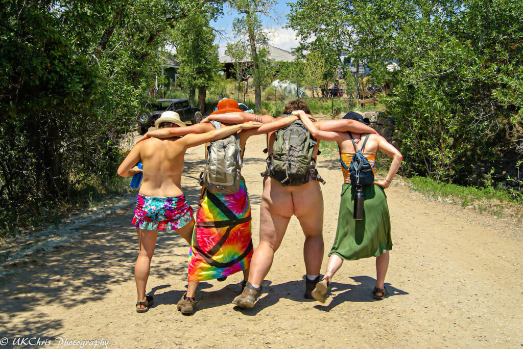 Naturists enjoying Everson Ranch in Valley View Hot Springs.