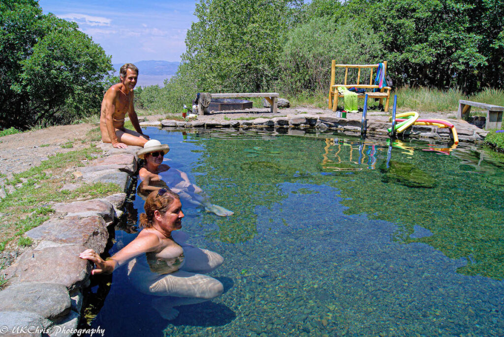 Naturists enjoying Valley View Hot Springs.