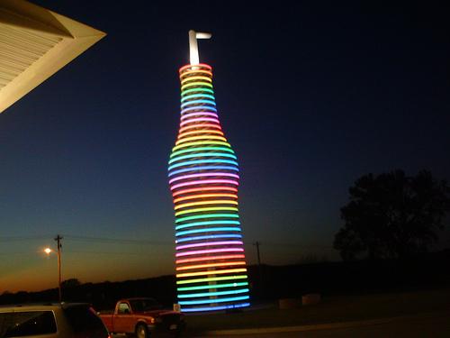 Neon soda bottle at POPS in Oklahoma.