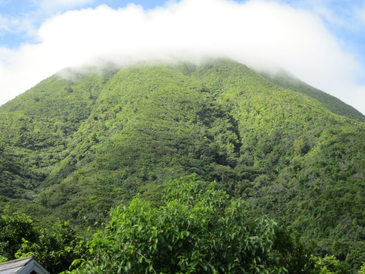 Nevis Peak covered in mist, St. Kitts and Nevis