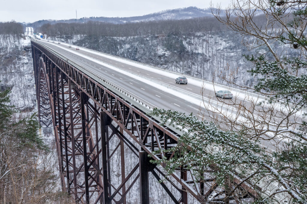 New River Gorge National Park And Preserve during winter.