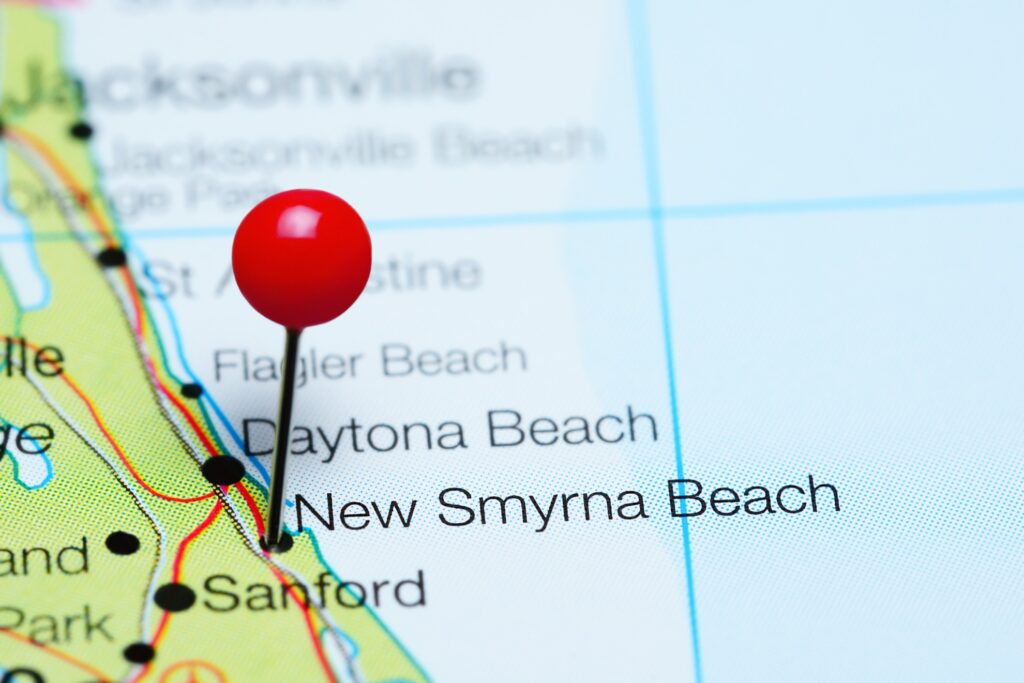New Smyrna Beach, Florida, on a map.