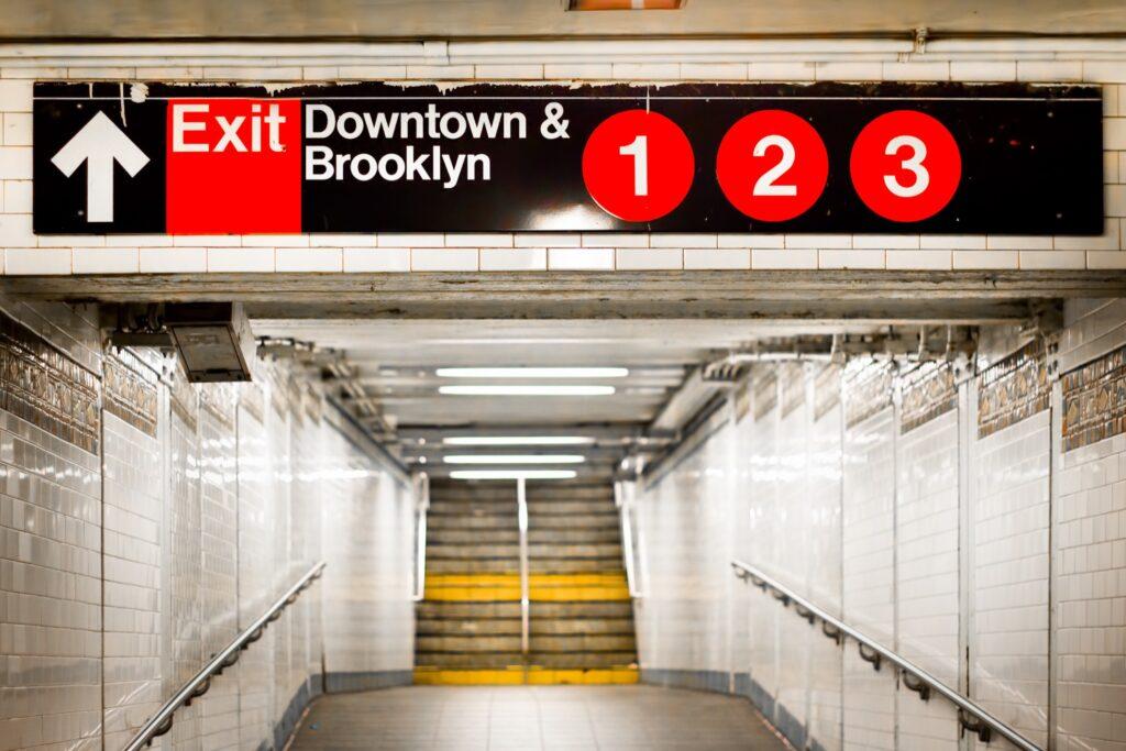 New York City subway station exit.