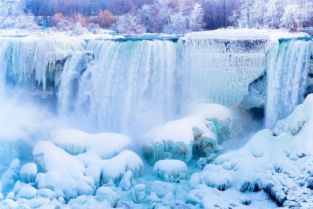 Niagara Falls appearing frozen during winter.