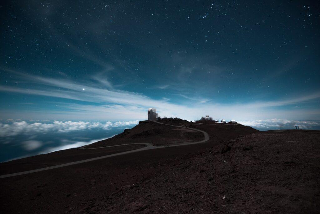 Night sky over the Haleakala observatory.