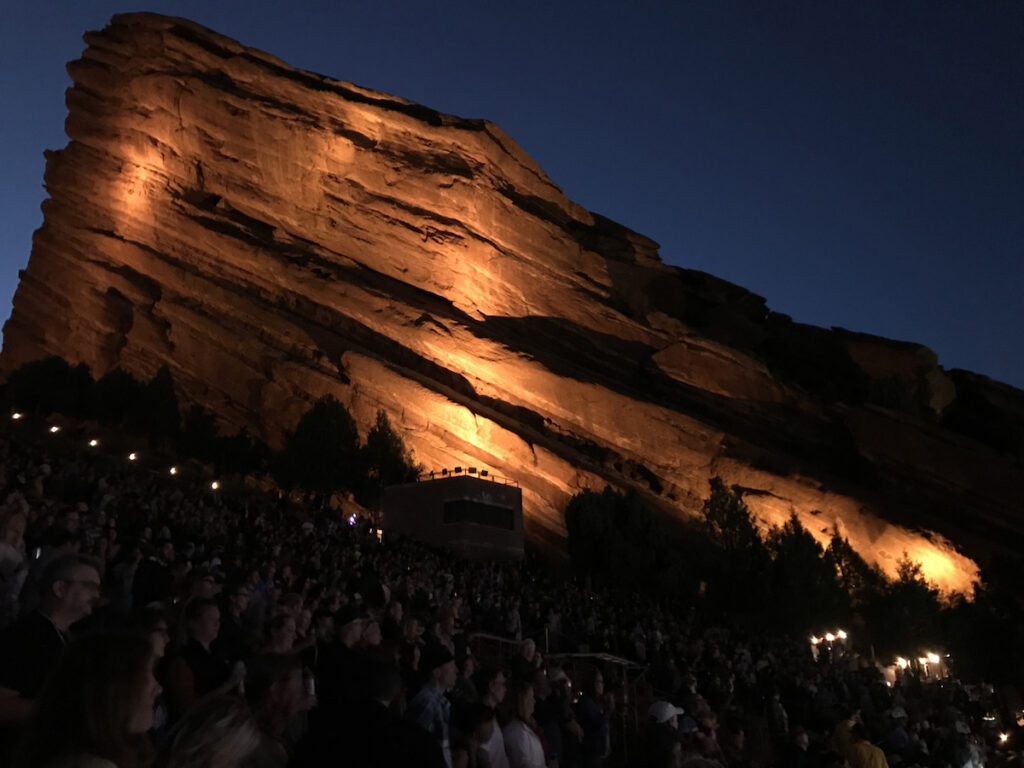 Night time at Red Rocks Amphitheatre.