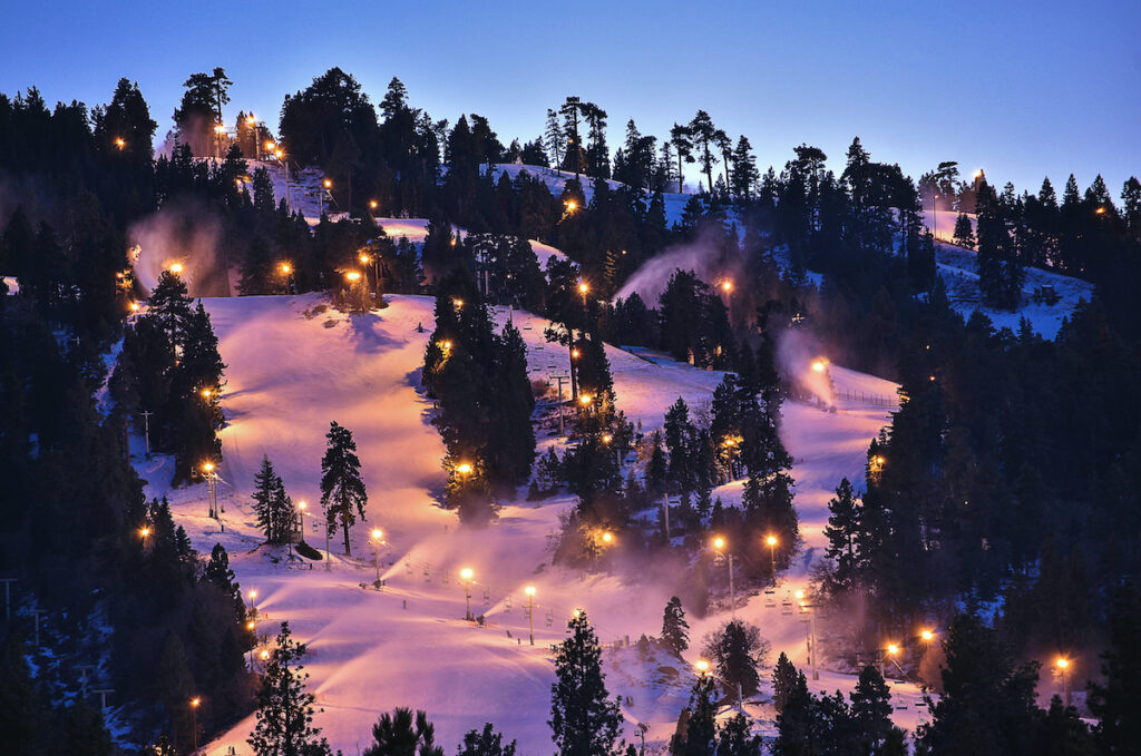 Night time at Snow Summit in Big Bear Lake, California.