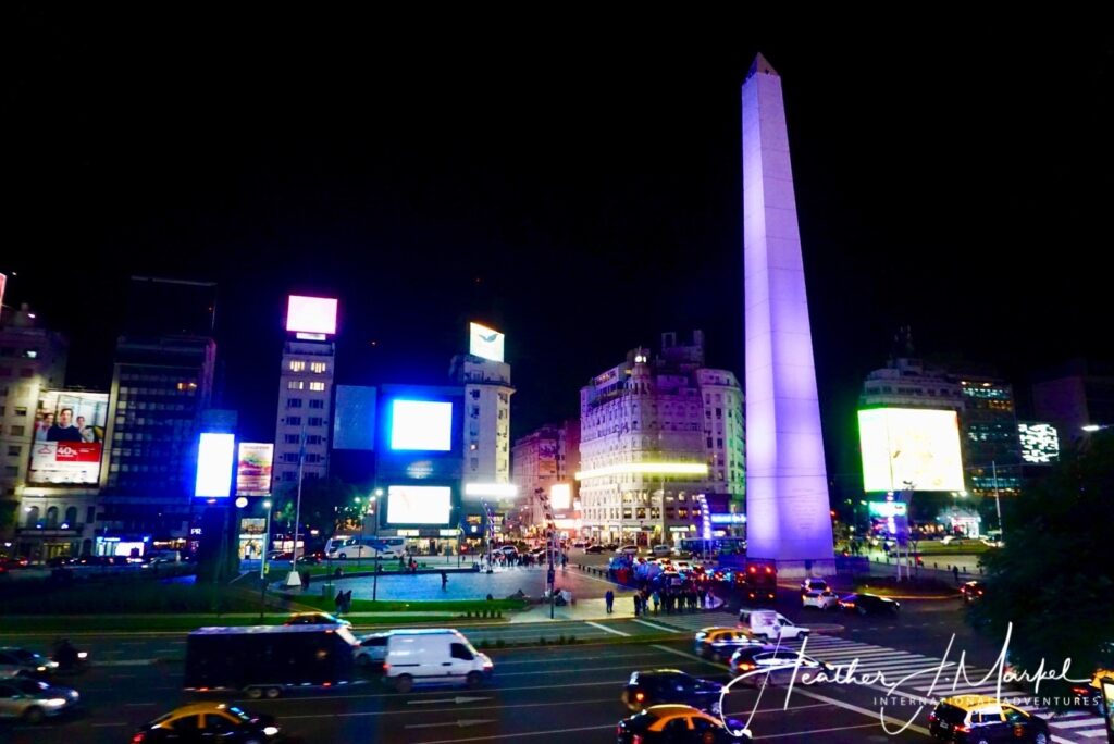 Night time in Buenos Aires.