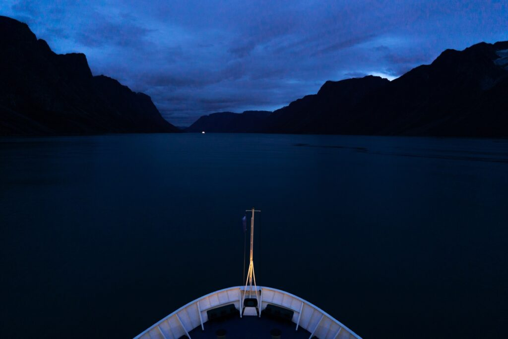 Night time on an Arctic cruise.