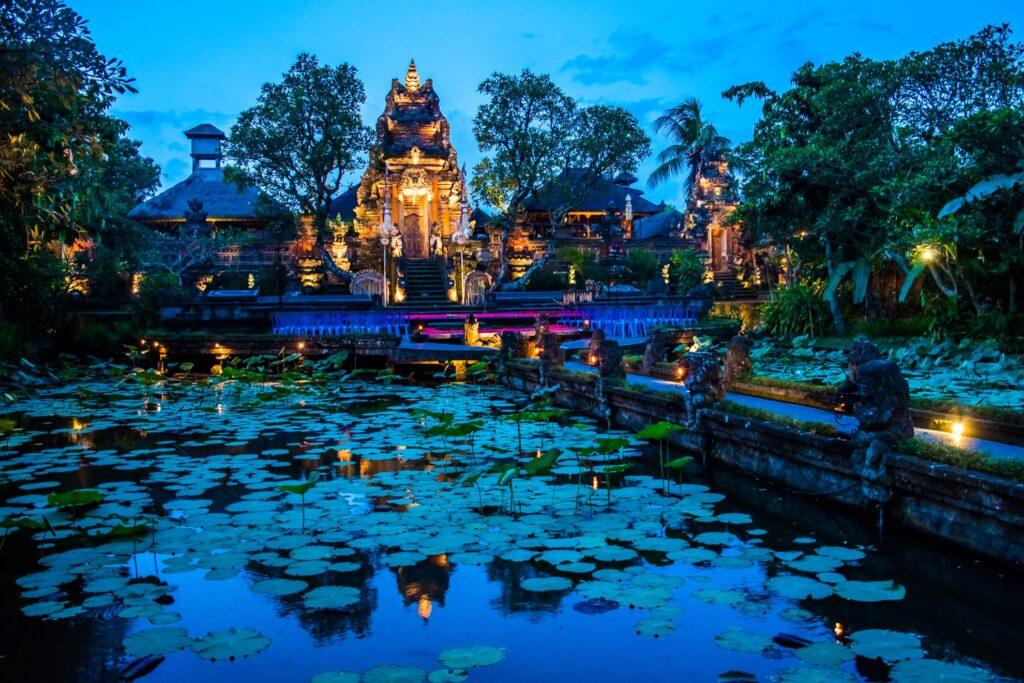 Nighttime at the Pura Saraswati Temple in Ubud.