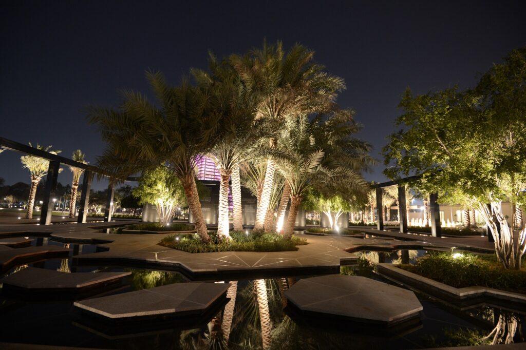 Nighttime at Umm Al Emarat Park.