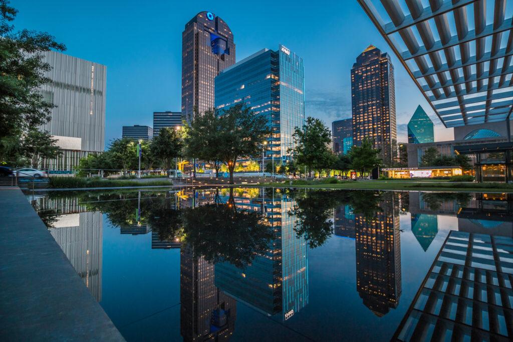 Nighttime in downtown Dallas, Texas.