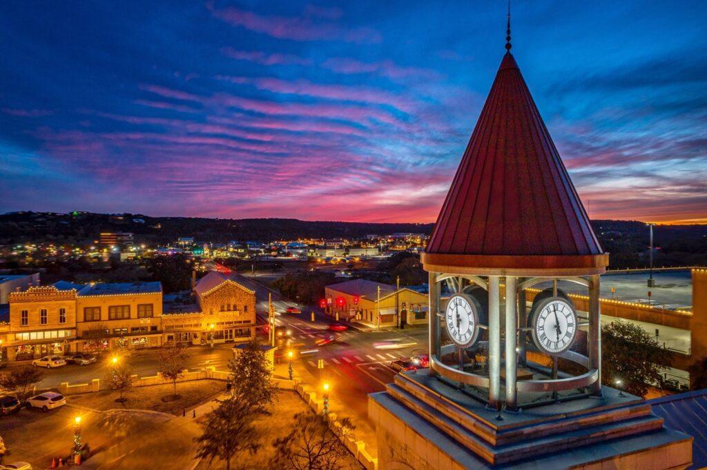 Nighttime in Kerrville, Texas.