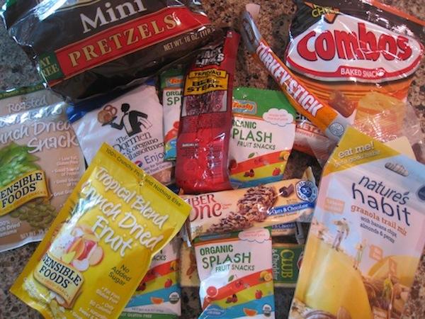 Non-perishable snacks for traveling.