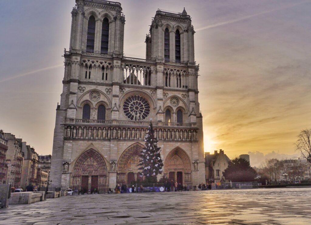 Notre Dame during Christmastime.