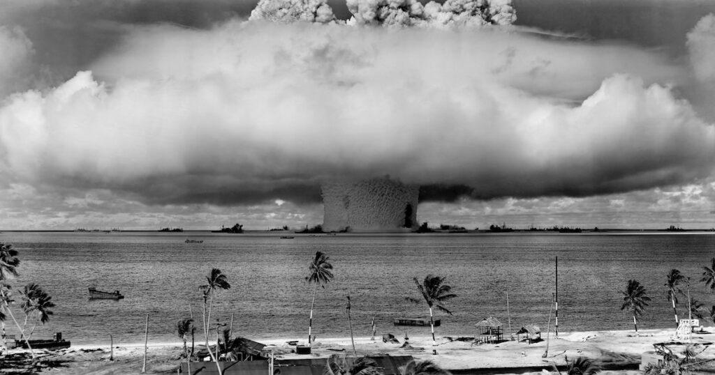 Nuclear bomb tests off the coast of Bikini Atoll in the 1940's.