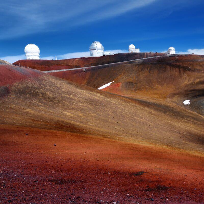 Observatories at the summit of Mauna Kea in Hawaii.