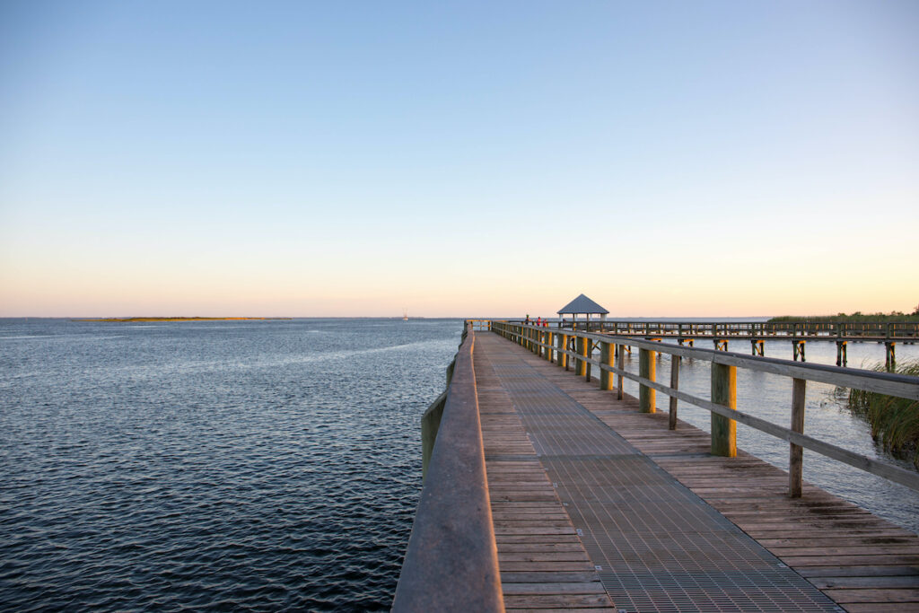 Ocean views from a dock in quaint Apalachicola, Florida.