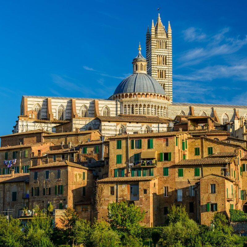 Old buildings in Siena, Italy.