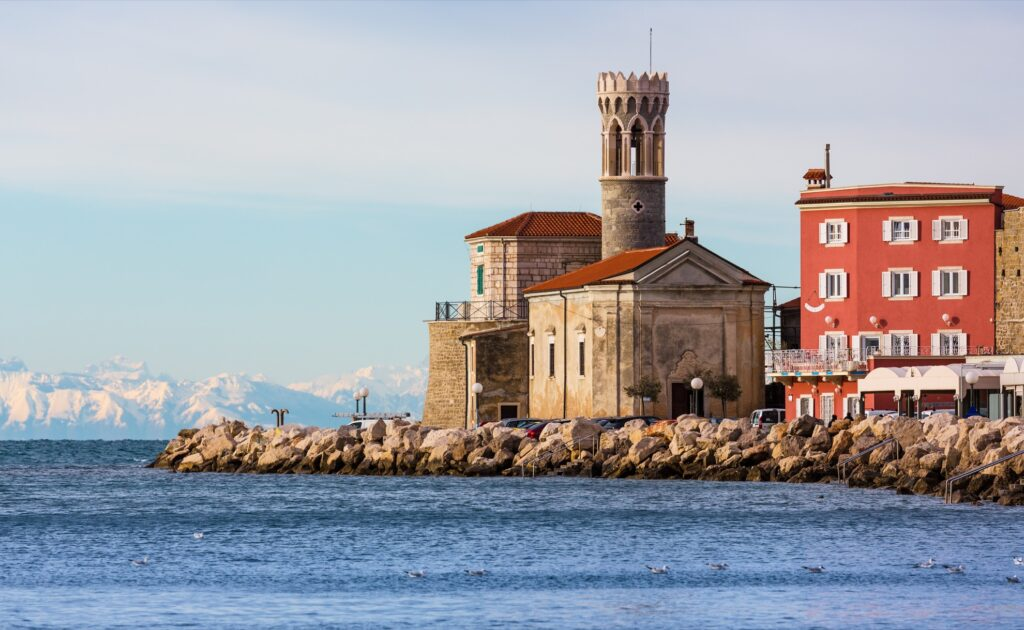 Old Church on the pier in Piran.