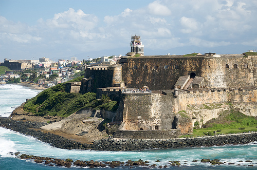 Old fortress on the coast puerto rico