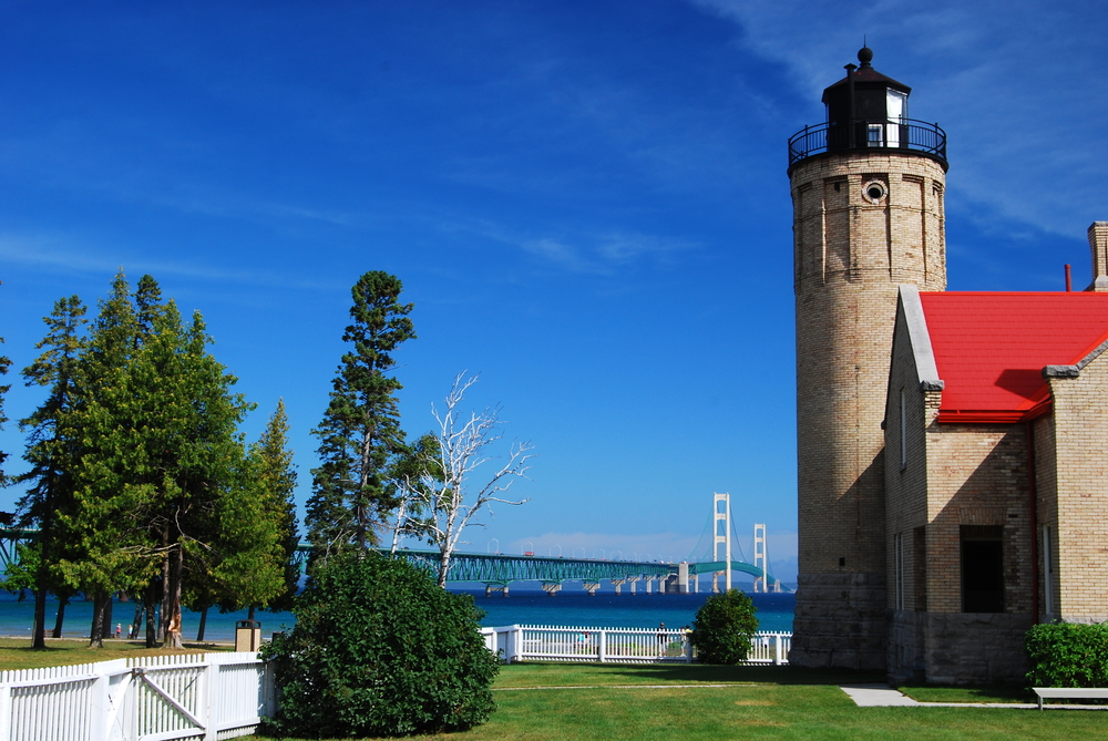 Old Mackinac Point Lighthouse in Mackinaw City, Michigan.