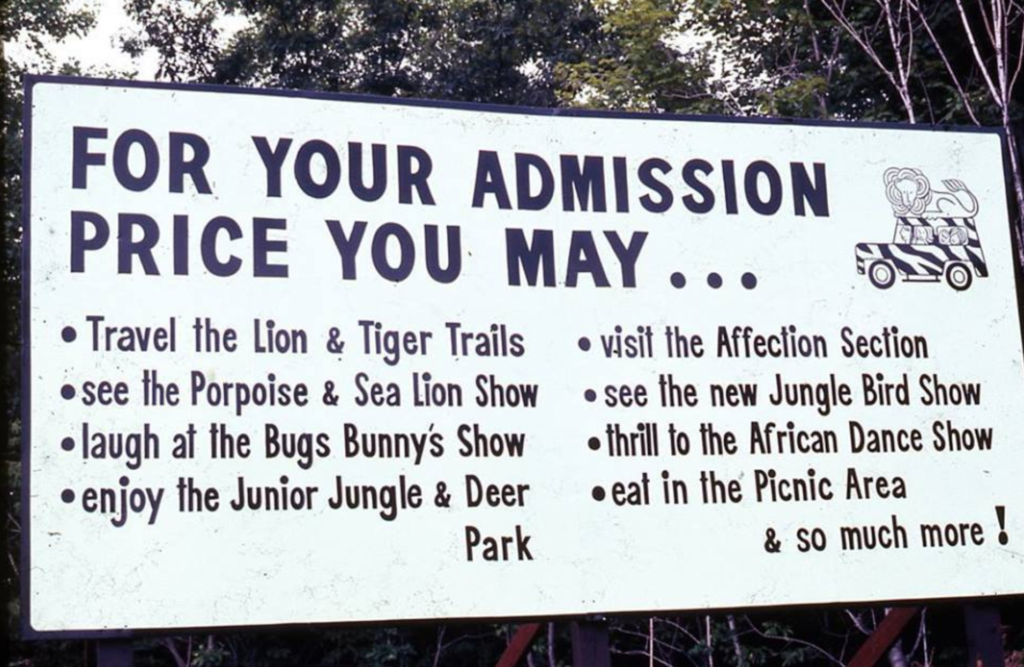 Old park sign from the Jungle Habitat.