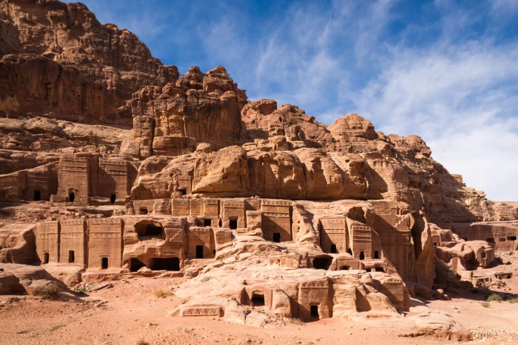 Old rock house formations in Petra, Jordan.