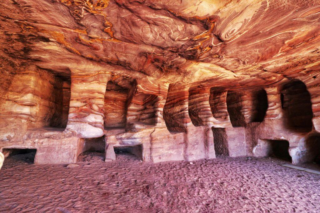 Old tombs inside the Silk Cave in Petra, Jordan.