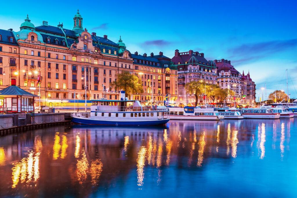Old Town Stockholm (Gamla Stan) at sunset.