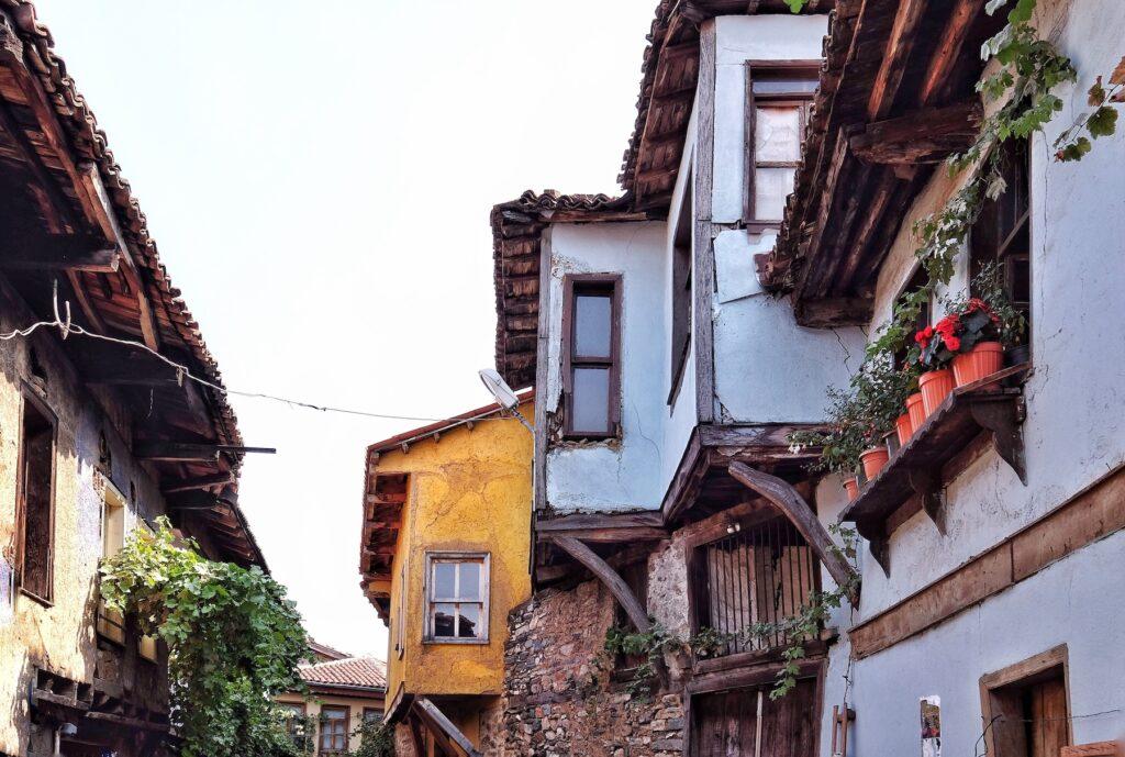 Old wooden houses in Bursa, Turkey.