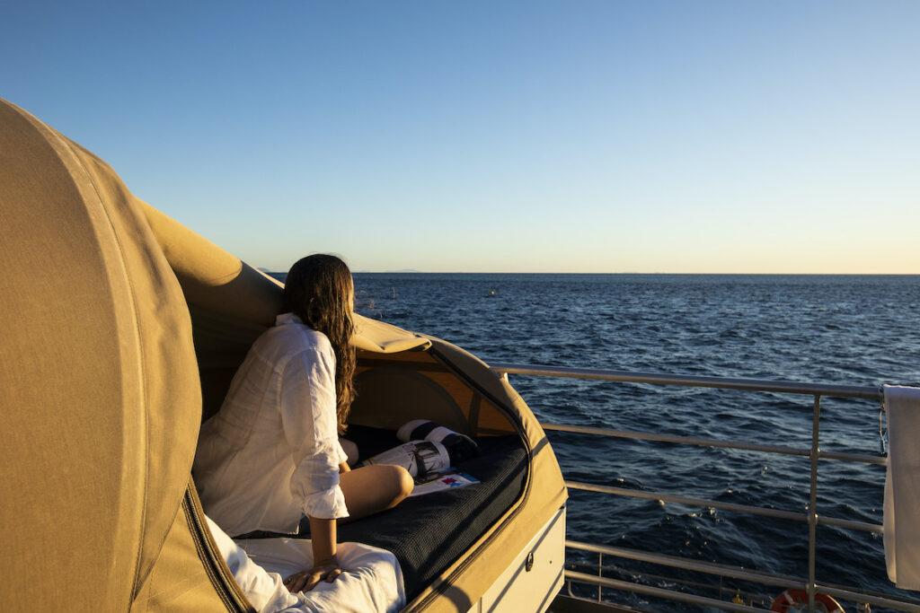 On-deck relaxation on Reef Sleep.
