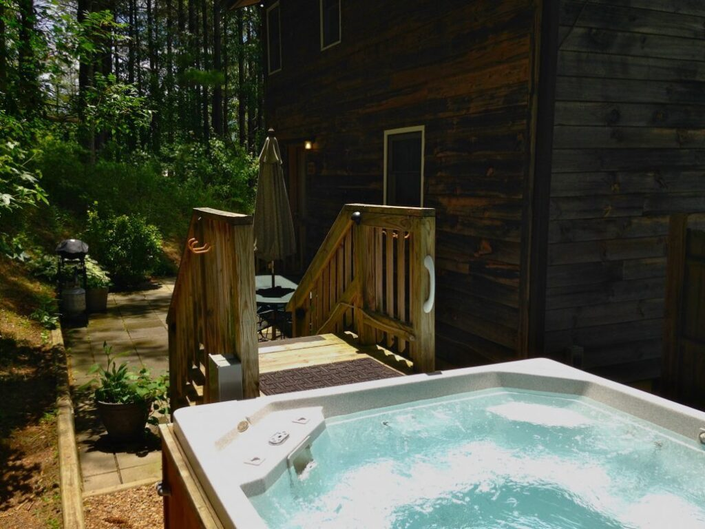 One of the hot tubs at Broadwing Farm in North Carolina.