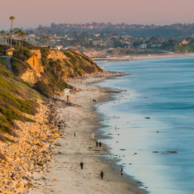 One of the many beaches in Encinitas, California.