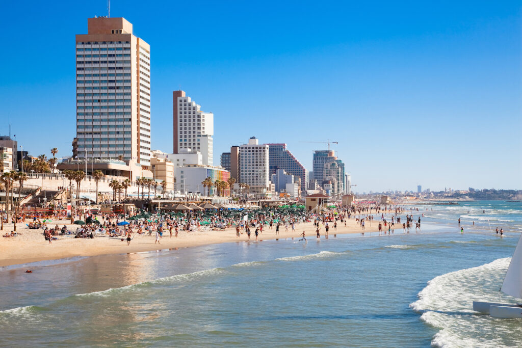 One of the many beaches in Tel Aviv.