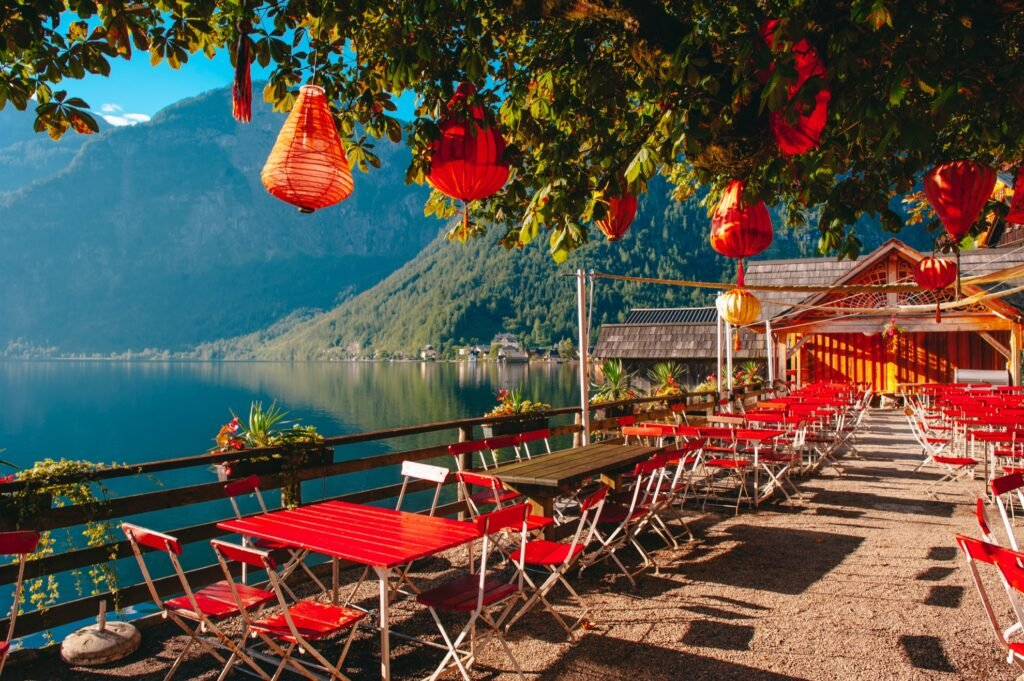 One of the many cafes in Hallstatt, Austria.