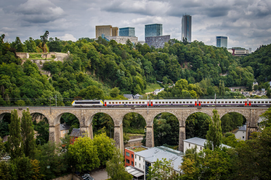 One of the many railways through Luxembourg City.