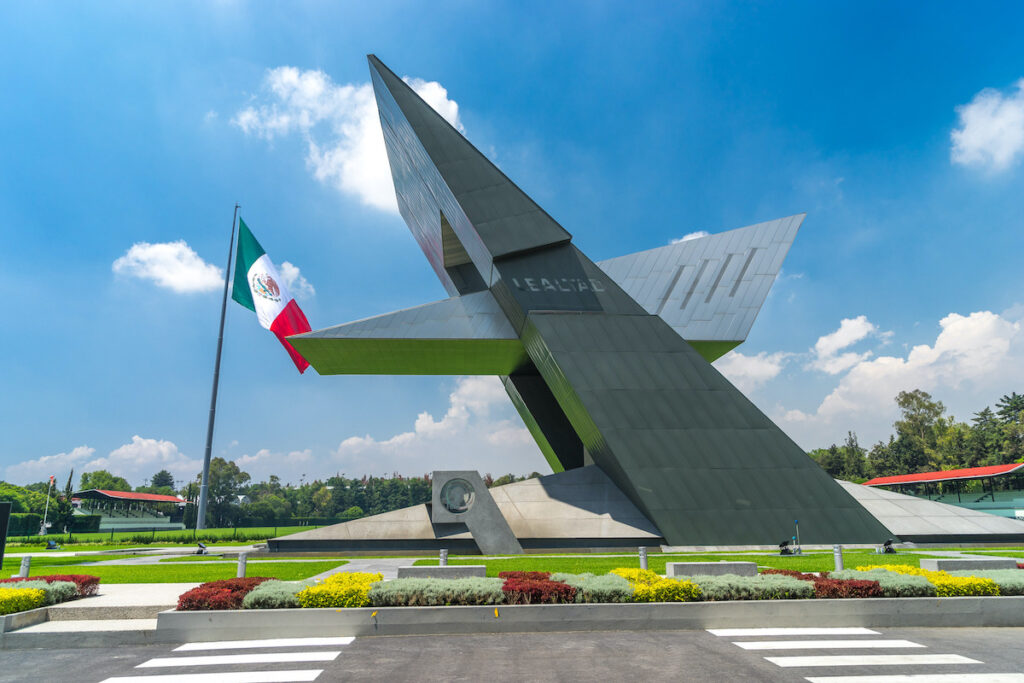 One of the many sculptures at Campo Marte in Mexico City.