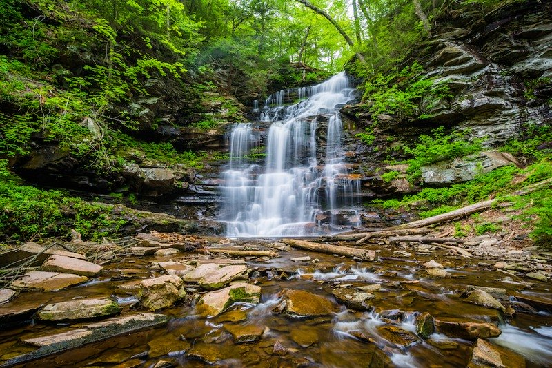 One of the many waterfalls along the Falls Trail in eastern Pennsylvania.