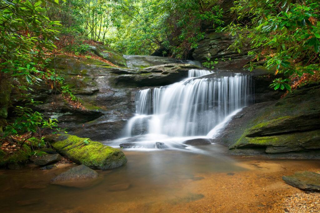 One of the many waterfalls near Asheville, North Carolina.
