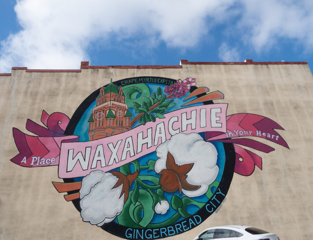 One of the murals in Waxahachie, Texas.