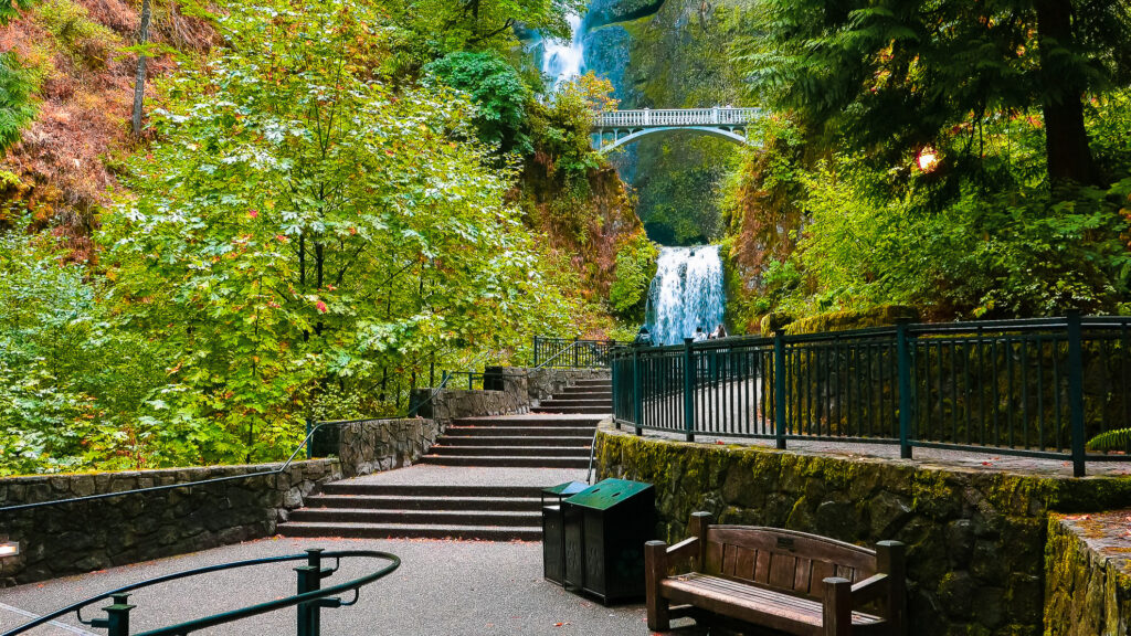 One of the viewing areas at Multnomah Falls.