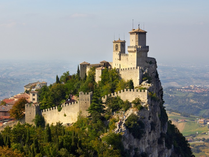 One of the walled towers of Mount Titano, San Marino.