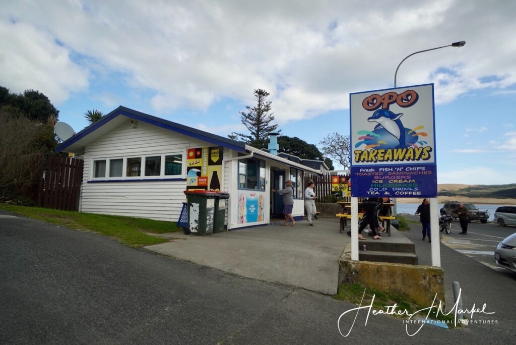 Opo Takeaways, a fish n chips restaurant in Opononi, New Zealand.