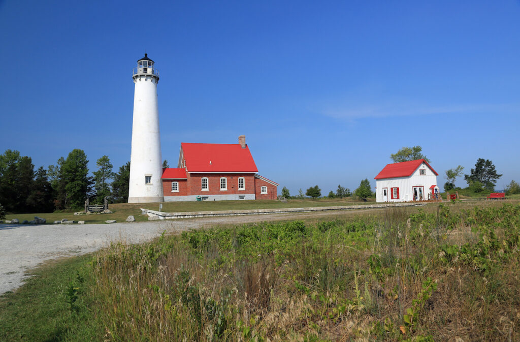 Ottawa Point Lighthouse in East Tawas, Michigan.
