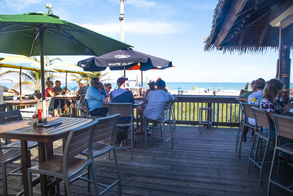 Outdoor dining at Coconuts On The Beach in Cocoa Bay, Florida.