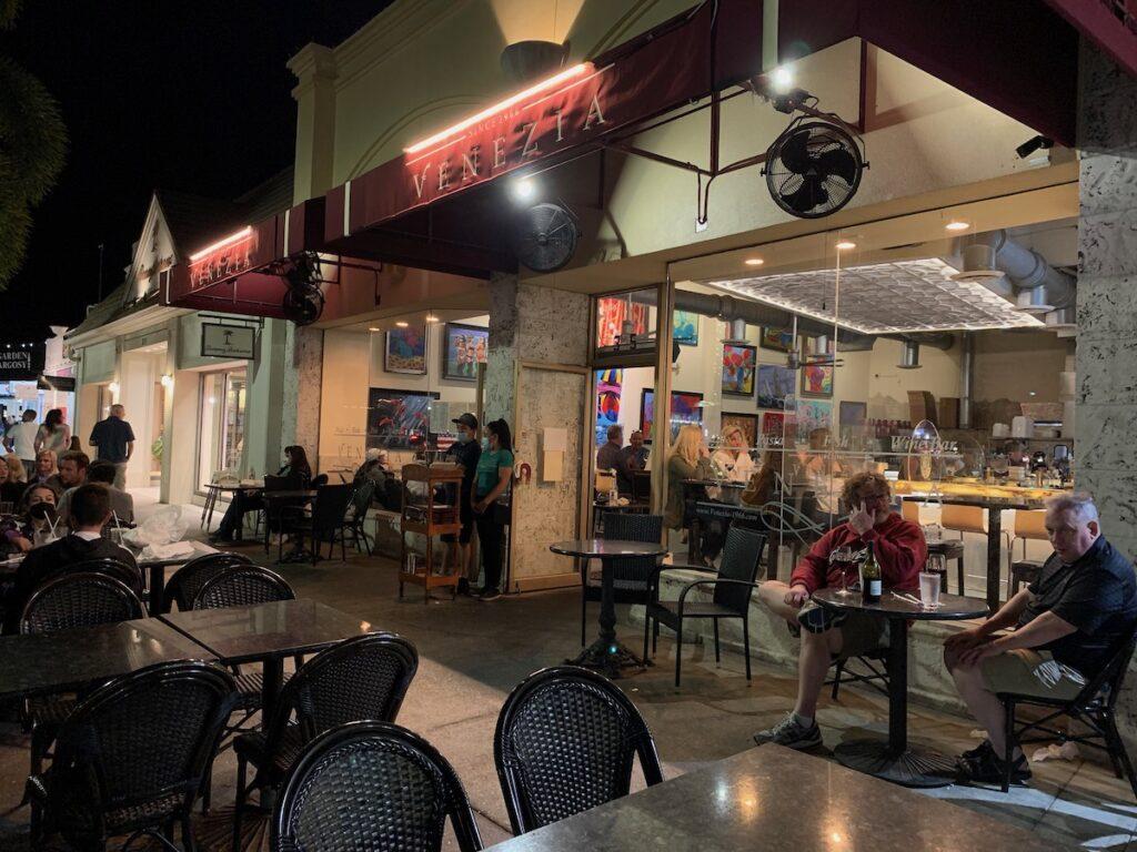Outdoor dining at Venezia Italian Restaurant.