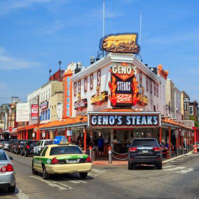 Outside of Genos Steaks restaurant.