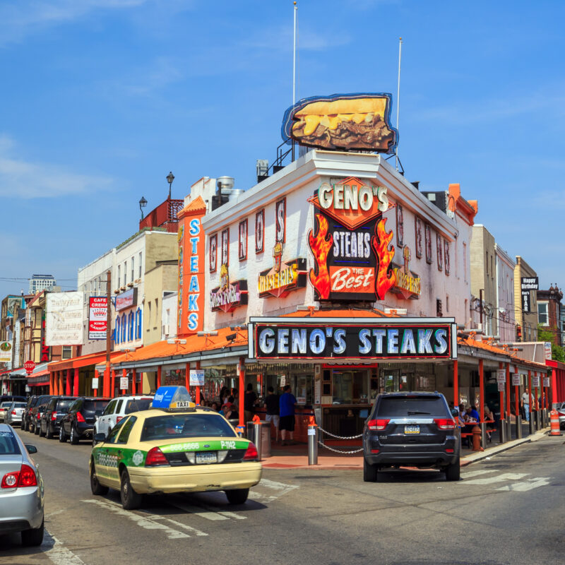 Outside of Genos Steaks restaurant.