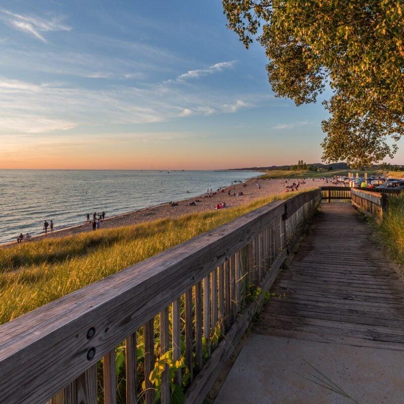 Oval Beach at sunset in Saugatuck, Michigan.